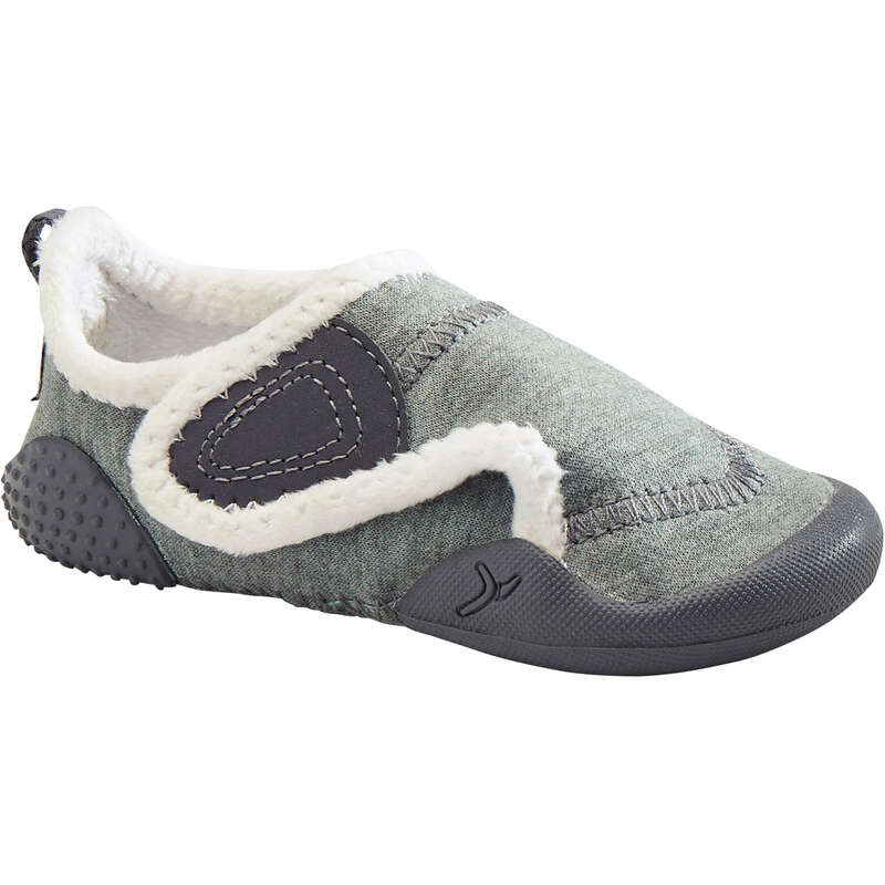 BABY GYM FOOTWEAR Clothing - Lined Baby Gym Shoes - Grey/White DOMYOS - Clothing