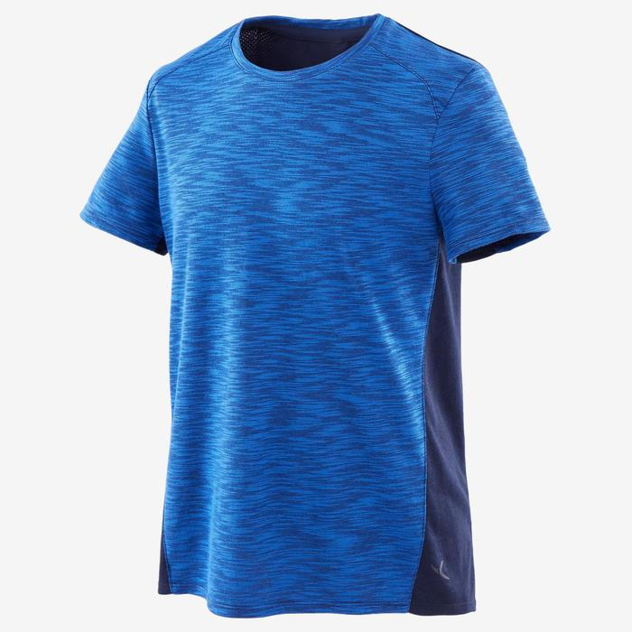 Boys' Breathable Cotton Short-Sleeved Gym T-Shirt 500 - Blue