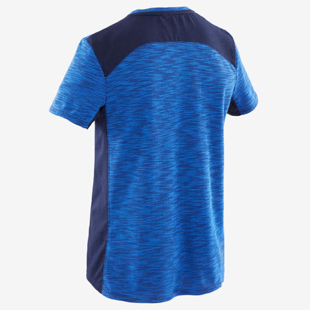 T-Shirt Senam Lengan Pendek Katun Breathable Laki-laki 500 - Biru