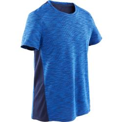 Ademend T-shirt met korte mouwen voor gym jongens 500 katoen blauw