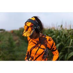 Gorra Caza Solognac 500 Mujer Ligera Transpirable Camuflaje Naranja Fluo