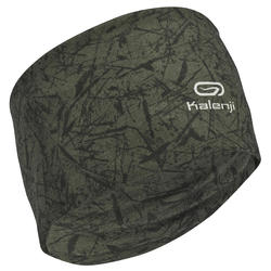 KALENJI MULTIPURPOSE RUNNING HEADBAND CARBON GREY/BLACK PRINT