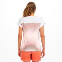 T-Shirt Marinière femme SAILING 100 Blanc rouge