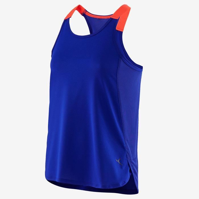 Ademend topje voor gym meisjes S900 paars met fluoroze bandjes
