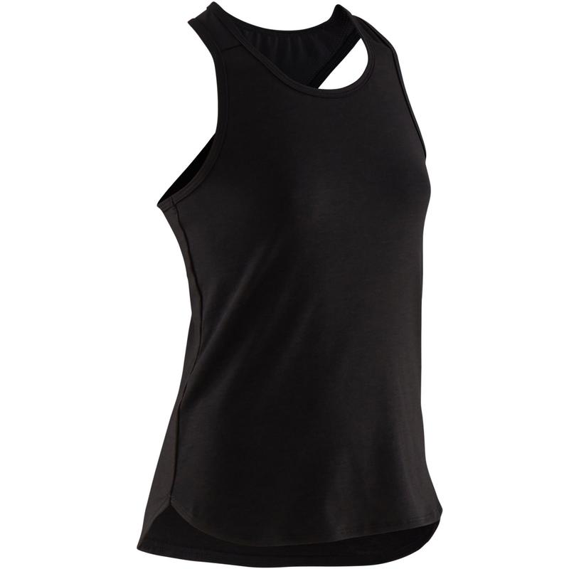 Ademend topje voor gym meisjes 500 effen zwart