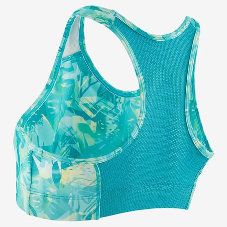 Bra Olahraga Senam Breathable Perempuan S500 - Hijau dan Biru Motif