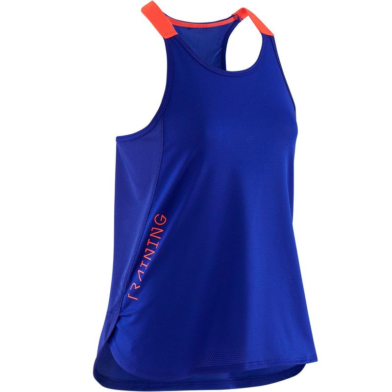 Girls' Breathable Gym Tank Top S580 - Purple/Neon Pink Straps