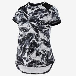 Ademend T-shirt met korte mouwen voor gym meisjes S500 synthetisch zwart/print