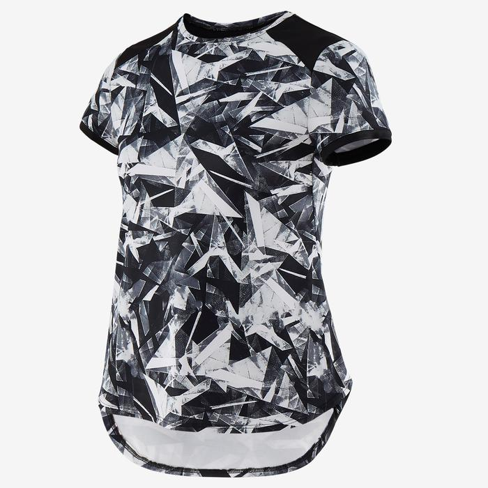 T-shirt synthétique respirant manches courtes S500 fille GYM ENFANT noir imprimé