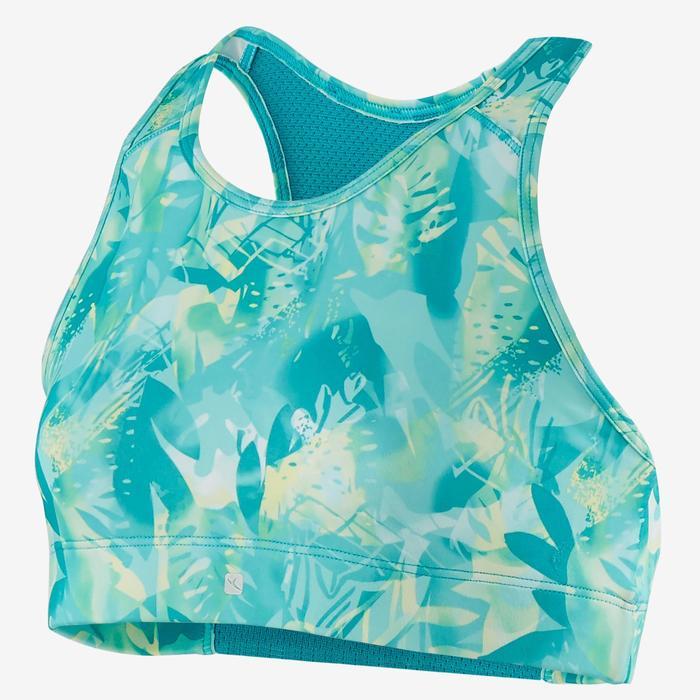 Ademend sporttopje voor gym S500 print groen/blauw