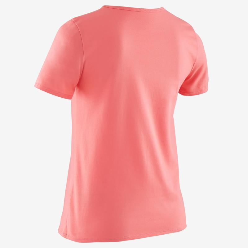 T-Shirt manches courtes 100 fille GYM ENFANT rose foncé imprimé