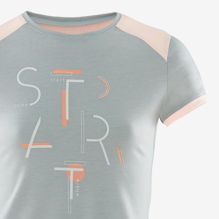 T-shirt manches courtes respirant 500 fille GYM ENFANT gris imprimé