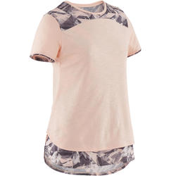 T-Shirt atmungsaktive Baumwolle 500 GYM Kinder rosa meliert/grau