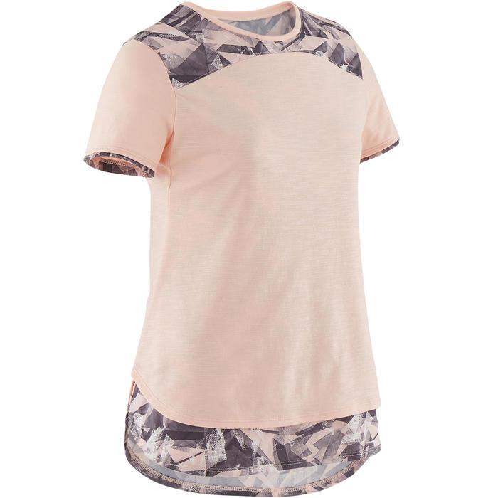 T-Shirt manches courtes coton respirant 500 fille GYM ENFANT rose chiné AOP gris