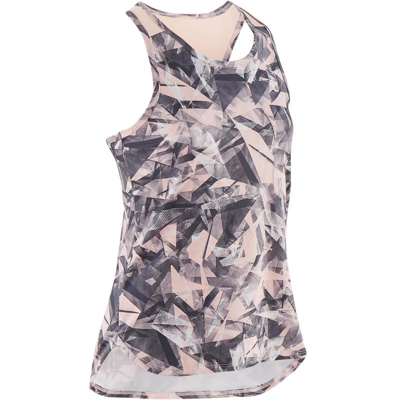 Girls' Breathable Synthetic Gym Tank Top S500 - Pink Print
