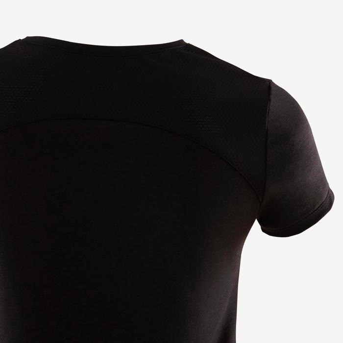 T-shirt manches courtes respirant 500 fille GYM ENFANT noir imprimé