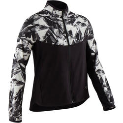 Girls' Light Breathable Gym Jacket W500 - Black Print