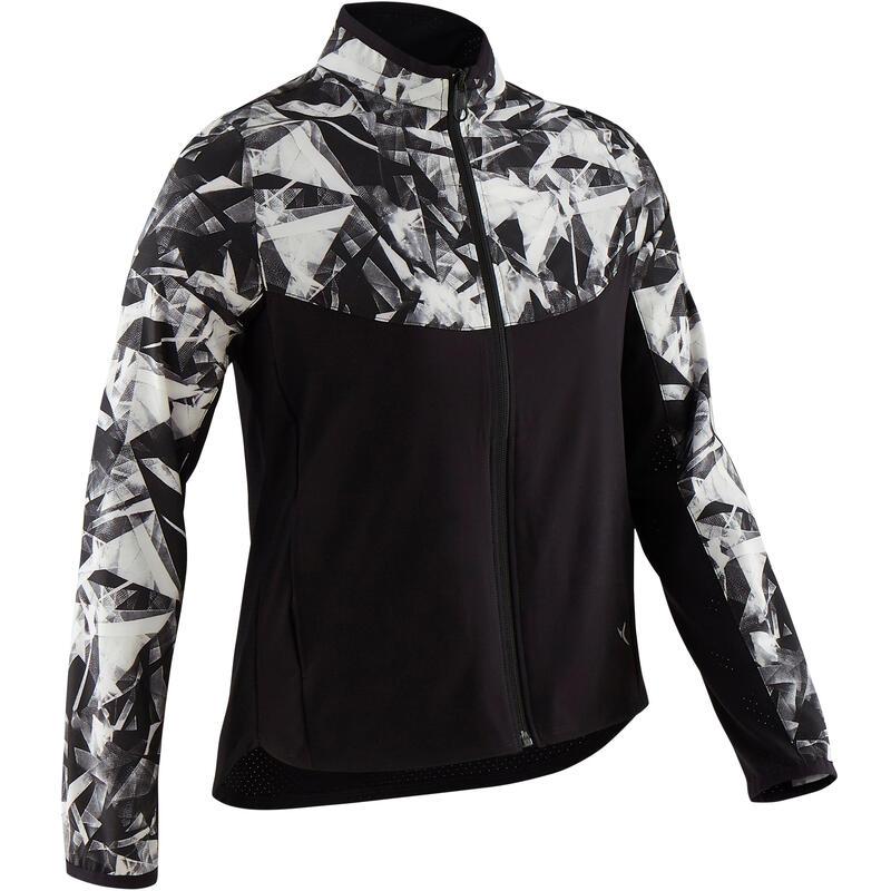 Girls' Light Breathable Gym Jacket W500 - Black Print