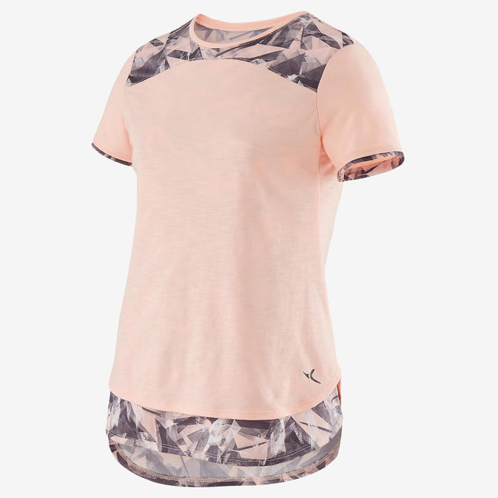 女童透氣棉質健身短袖T恤500 - 混粉色AOP