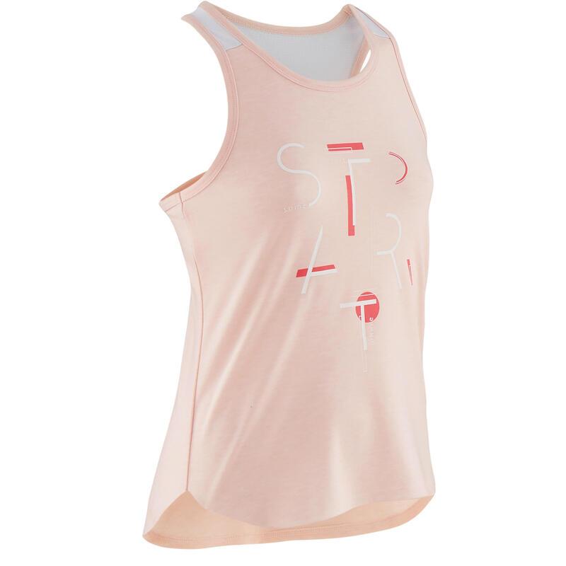 Ademend topje voor gym meisjes 500 lichtroze/print