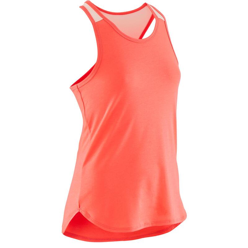 Camiseta sin mangas transpirable 500 niña GIMNASIA INFANTIL rosa fluo liso