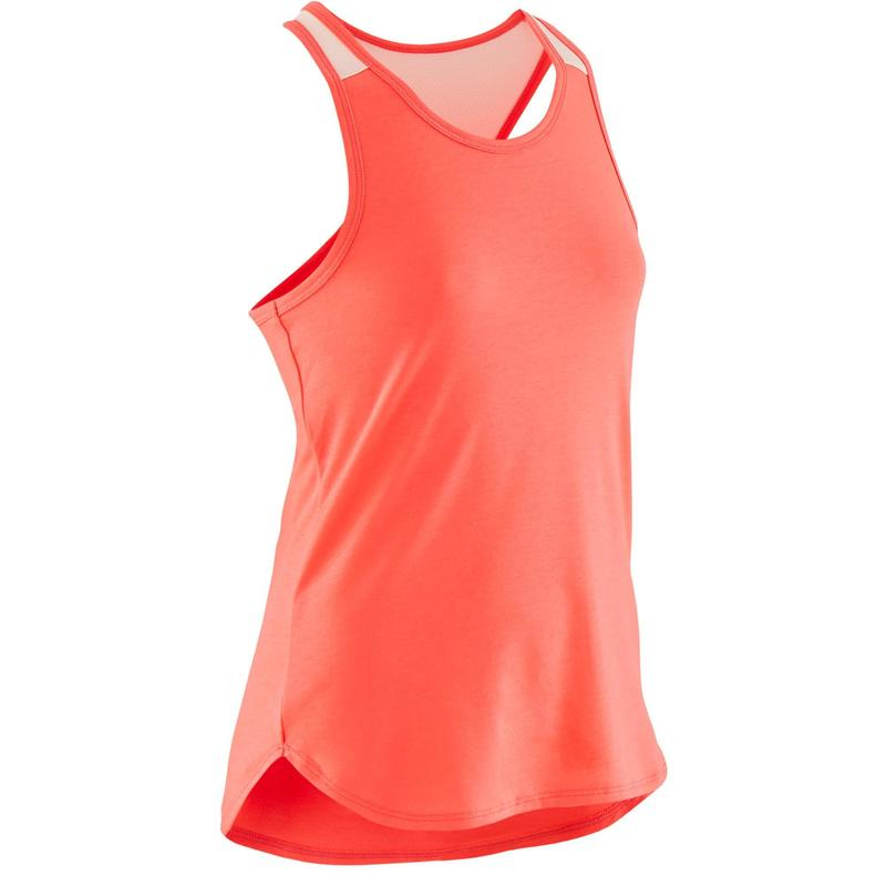 Girls' Breathable Gym Tank Top 500 - Plain Neon Pink