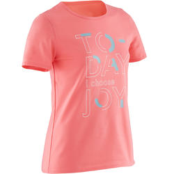 Girls' Short-Sleeved Gym T-Shirt 100 - Dark Pink Print