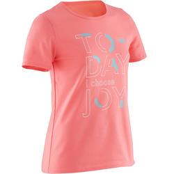 T-shirt met korte mouwen voor gym meisjes 100 donkerroze/print