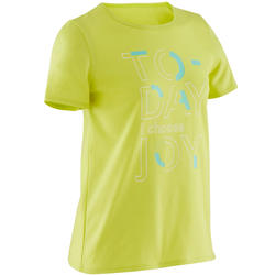 Girls' Short-Sleeved Gym T-Shirt 100 - Green Print