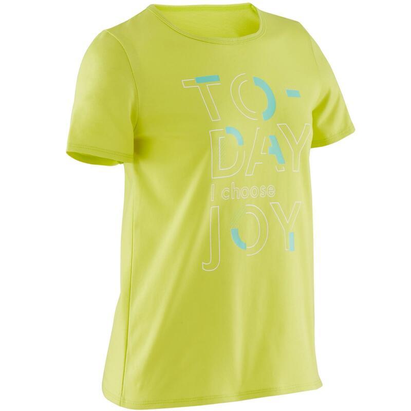 T-Shirt manches courtes 100 fille GYM ENFANT vert imprimé