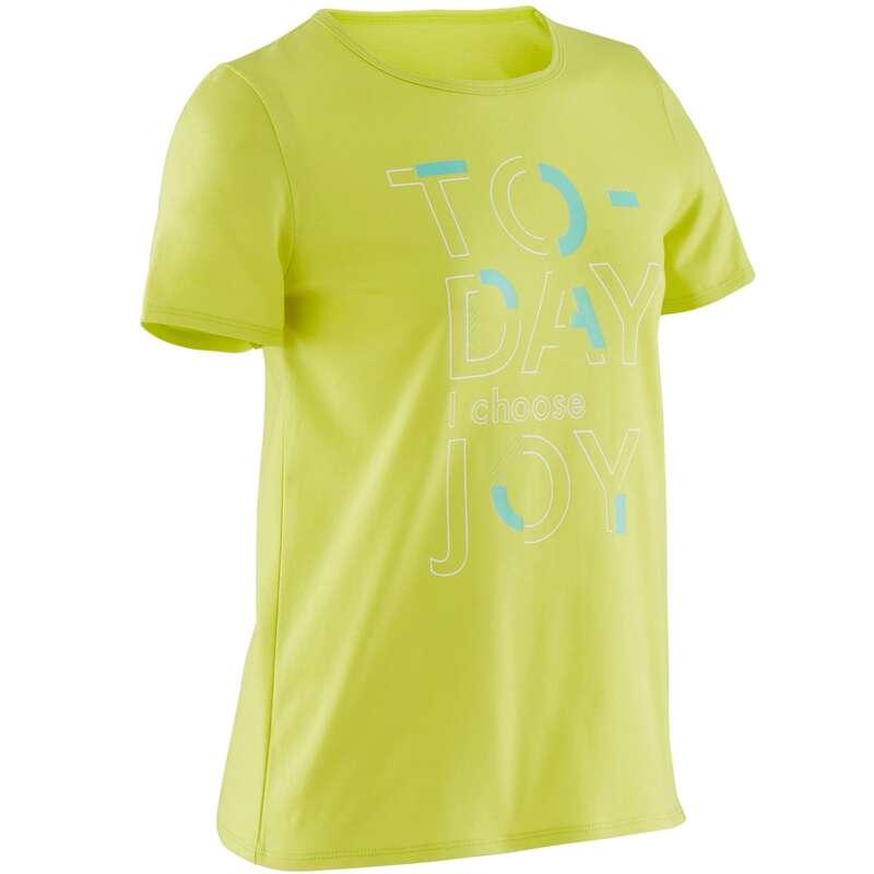 ОДЕЖДА ДЛЯ ДЕВОЧЕК Физкультура - Футболка 100 GYM дет. зеленая DOMYOS - Одежда для девочек
