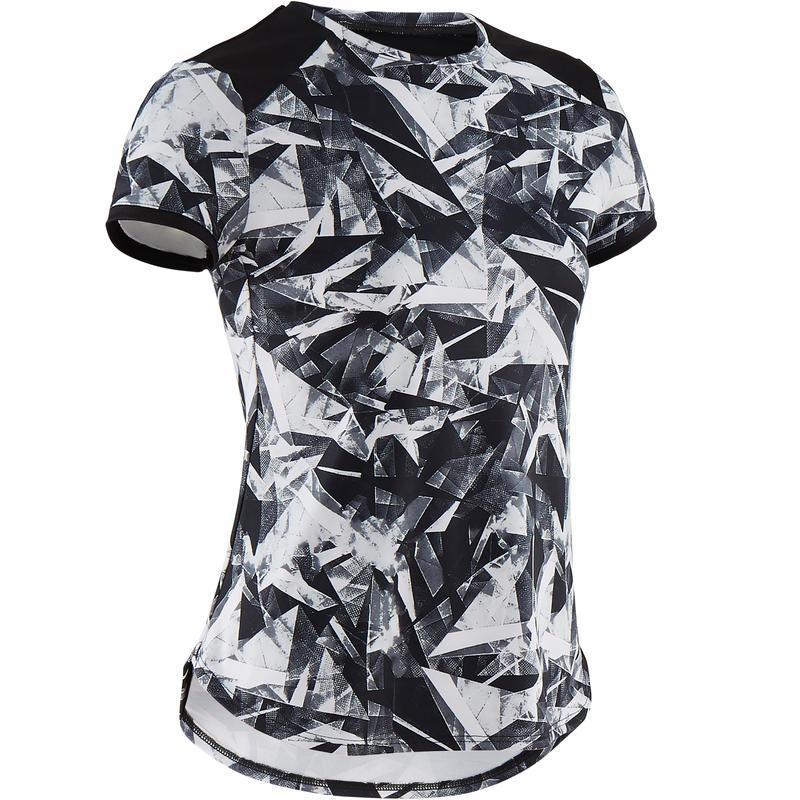 T-Shirt Senam Lengan Pendek Sintetis dan Breathable Perempuan S500 - Hitam Motif
