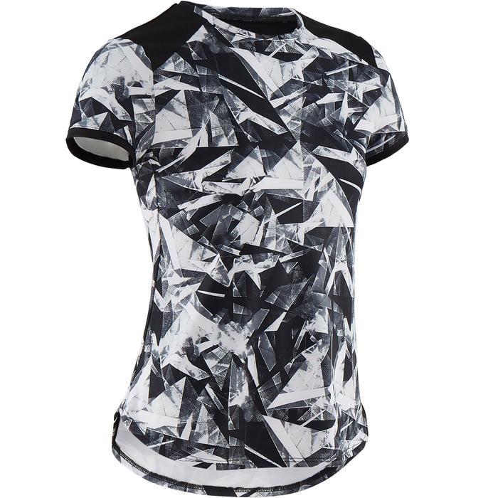 Camiseta sintética transp. manga corta S500 niña GIMNASIA INFANTIL negro estamp.