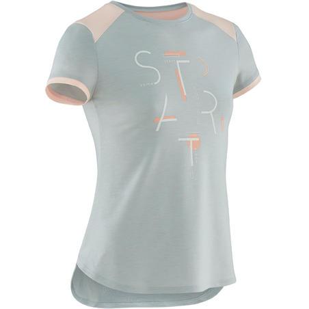 T-Shirt Senam Lengan Pendek Breathable Perempuan 500 - Abu-abu Motif