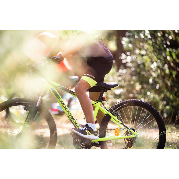 500 Kids' Bibless Cycling Shorts - Black/Neon Yellow