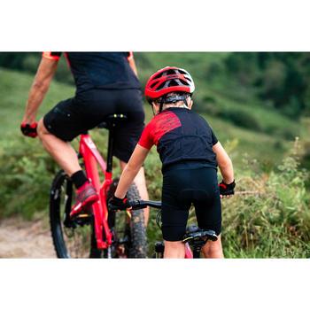 Fietsshirt kind 900 korte mouwen zwart/rood