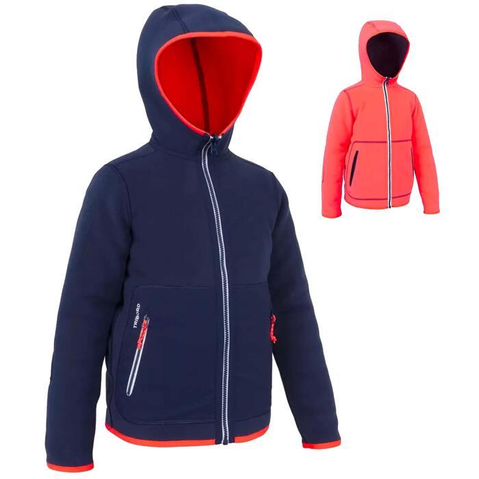 兒童款正反兩用刷毛外套500-軍藍色/粉紅色