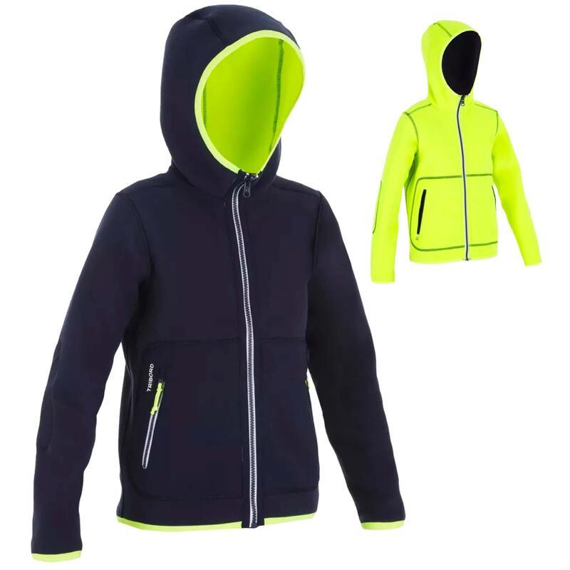 Kids' warm reversible sailing fleece 500 - Navy blue/neon yellow
