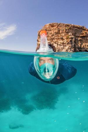 Máscara Snorkel Superficie Easybreath 500 Turquesa Claro