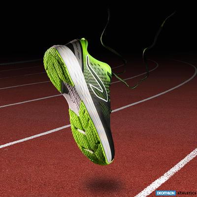 Kiprun childrens athletics socks black and neon yellow