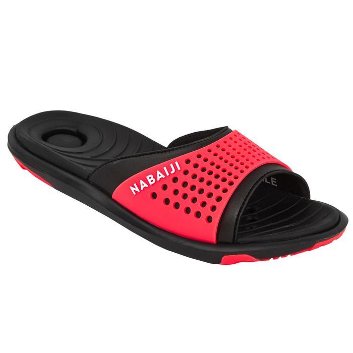 Badslippers voor zwembad dames Slap 900 zwart/koraalrood