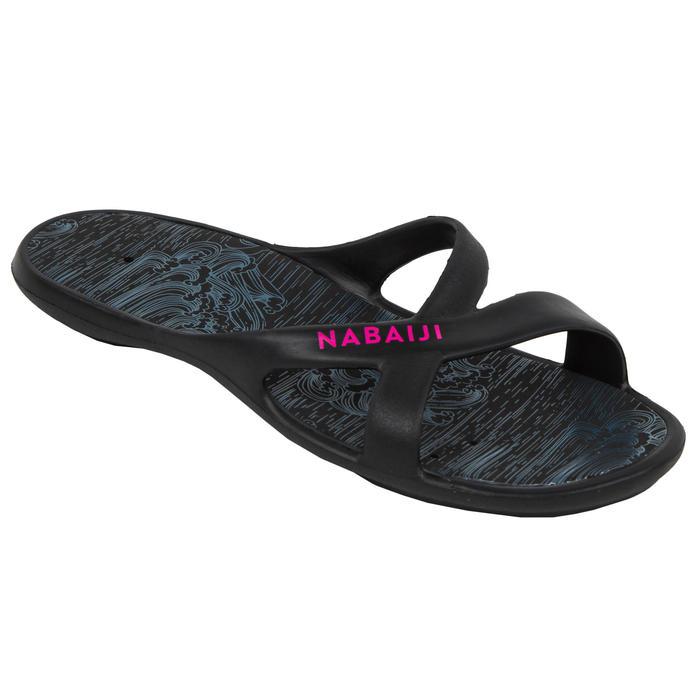 女款泳池涼鞋Slap 500-海洋黑粉紅色