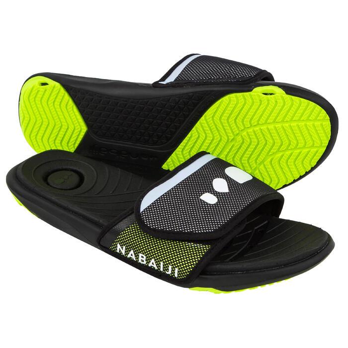 Badslippers voor zwembad heren Slap 900 Soft zwart/geel