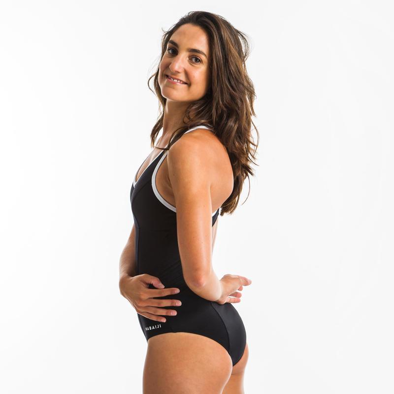 Women's One-Piece Aquafitness Swimsuit Lou - Black White