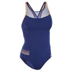 Badpak voor aquafitness Lena blauw/oranje