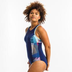 女款連身式Lena水中健身泳裝-活力藍