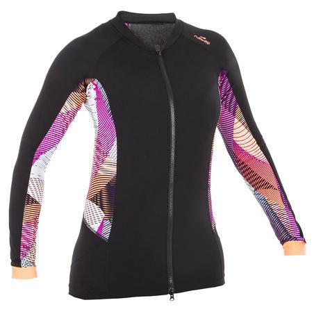 Women's Aquafitness Zipped Long Sleeve T-shirt - Vib black