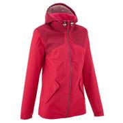 Rožnata ženska vodoodporna pohodniška jakna NH100