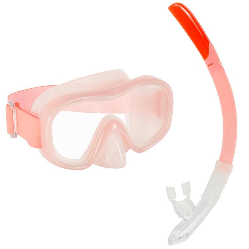 Kit Buceo Máscara Tubo Snorkel SNK 520 Adulto Coral Claro