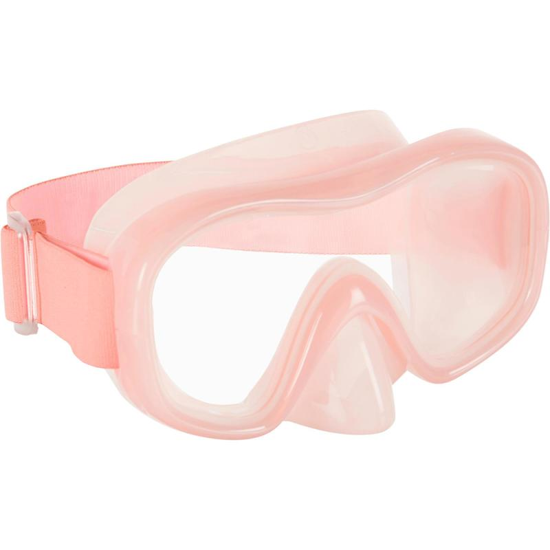 Adult Tempered Glass Snorkelling Mask SNK 520 pale coral.
